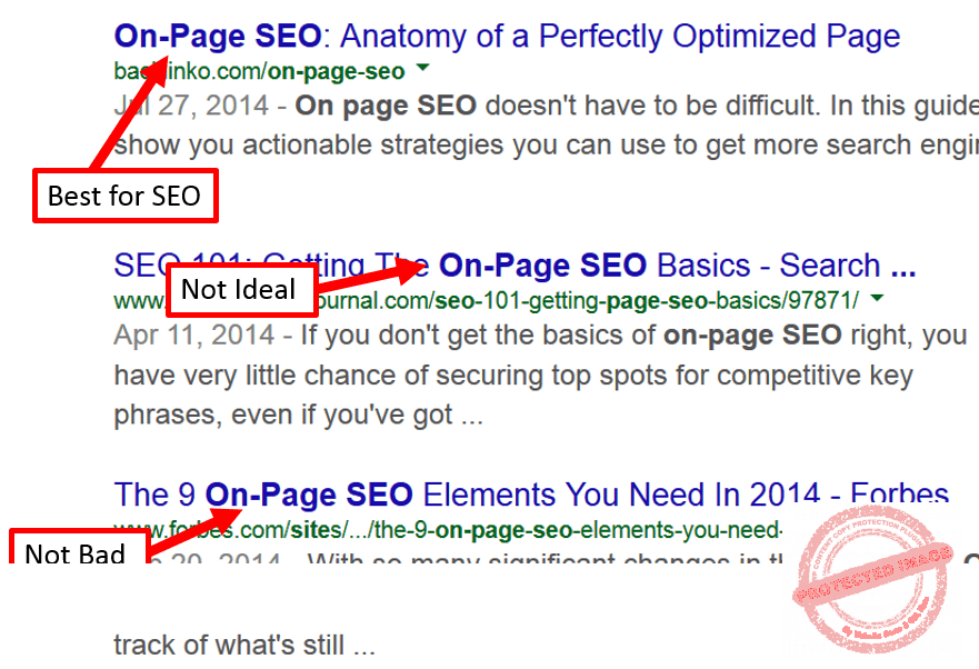start your title tag with a keyword